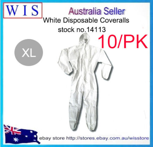 10//PK WHT Disposable Protective Clothing,Disposable Coveralls,Waterproof-14113