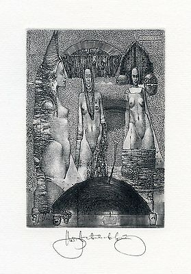 """Four Winds"" Nude, Surrealistic Ex libris Etching by Konstantin Antioukhin"