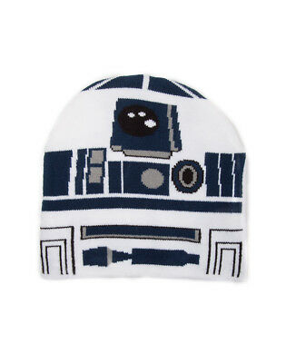OFFICIAL STAR WARS R2-D2 COSTUME STYLED WHITE BEANIE HAT (NEW)