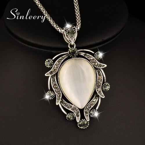 Vintage Big Opal Cubic Zirconia Pendant Long Necklace For Women Fashion Jewelry