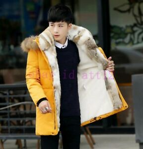 Rabbit-Fur-Lining-Hooded-Mens-Outwear-Trench-Long-Snow-Overcoat-Down-Coat-Parka