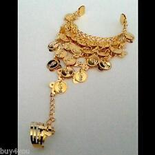 Bauchtanz  Sklavenarmband Handschmuck Armband mit Ring Münzen Gold Armspange