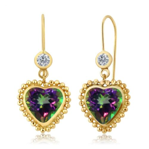 5.20 Ct Heart Shape Green Mystic Topaz G//H Diamond 14K Yellow Gold Earrings