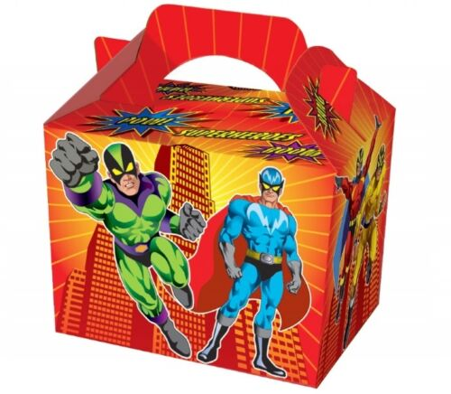 12 X Enfants Super Héros Boîtes ~ Picnic Transporter Repas Box ~ Fête D/'Anniversaire Sac Plaque