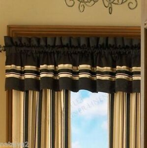 Croscill Avalon Rod Pocket Drapes Amp Valance 5pc Set Black