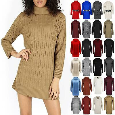 Womens Knitted Cowl Neck Long Sleeve Ladies Top Bodycon Dress Jumper 8 10 12 14