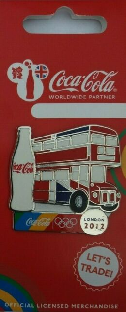 OFFICIAL COCA COLA LONDON 2012 OLYMPIC DOUBLE DECKER BUS PIN BADGE (MOC)
