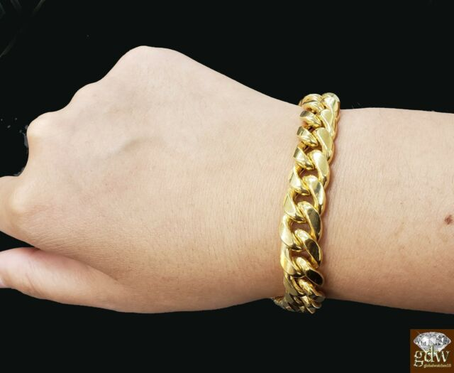 6fc5d3f7c251f 10k Gold Bracelet For Mens, Miami Cuban Link Box Lock 12mm 7.5 inch Rope,  Real!