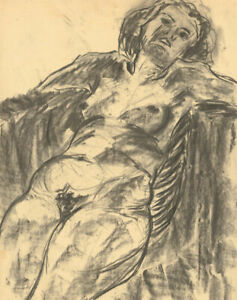 A.A. Graham-Bishop - 20th Century Charcoal Drawing, Reclining Nude