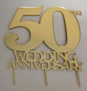 50th Wedding Anniversary Cake Topper Mirror Acrylic - choice of ...