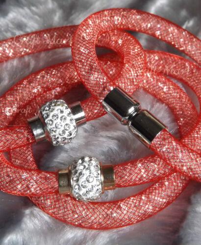 Magnetic Crystal Mesh Stardust Style Shamballa Charm Bracelet Bangle ❤23Colours❤