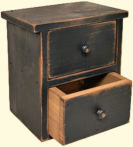 New Rustic Primitive Farmhouse Distressed Black Spice Drawer Trinket Caddy Stand