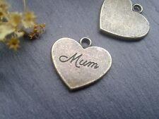Antique Bronze Mum Heart Charms 10pcs Steampunk Vintage Gold Pendants Kitsch