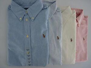 Detalles de Nuevo con etiquetas Polo Ralph Lauren Oxford Custom Fit de manga larga botones Camisa para mujer ver título original
