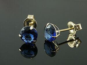 585-Gold-Ohrstecker-mit-3-Krappen-1-Paar-6-mm-Groesse-mit-echten-Saphiren