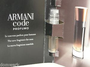 Giorgio Armani Code Profumo Parfum Pour Homme Vial Sample 15ml New