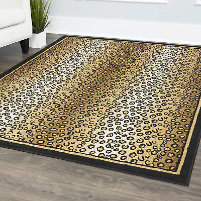 Animal Print Striped Leopard Skin Area Rug Bordered Modern