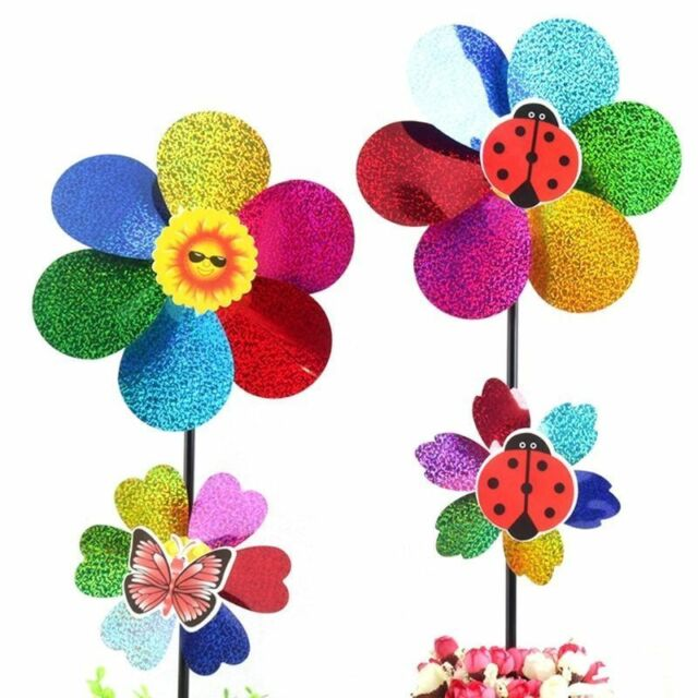 Colorful Sequins Windmill Wind Spinner Home Garden Yard DIY Decoration Kids Toy