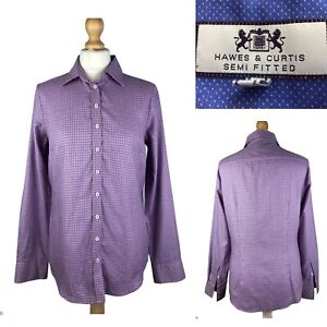 HAWES-amp-CURTIS-Semi-Fitted-Women-s-Pink-Blue-Casual-Cotton-Shirt-Size-UK-10
