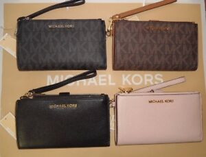 49d10087aeda NWT Michael Kors Jet Set Travel Double Zip Wristlet Wallet Phone ...