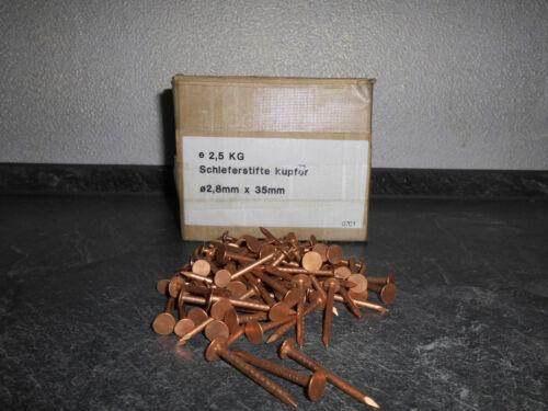 150 Kupfer Schieferstifte  2,8 x 35 mm Dachpappnägel Breitkopfstifte