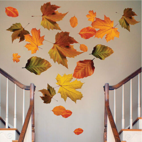 Autumn Leaves Wall Mural Decal Fall Season Brown Leaves Seasonal Wall Art c18