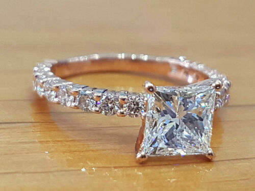 1.5 Ctw Princess Cut Diamond Solitaire Engagement Ring in White Gold Finish 1