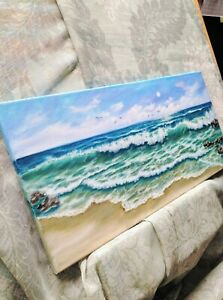 Art-20-034-10-034-oil-hand-painting-Seascape-by-Laura-Livetskiy-ocean-waves-landscape