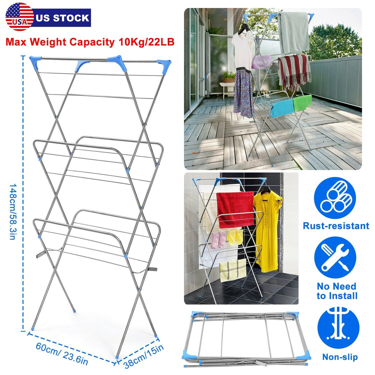 Indoor and Outdoor 21m 3 Tier Laundry Clothes Horse Drying Airer Rack