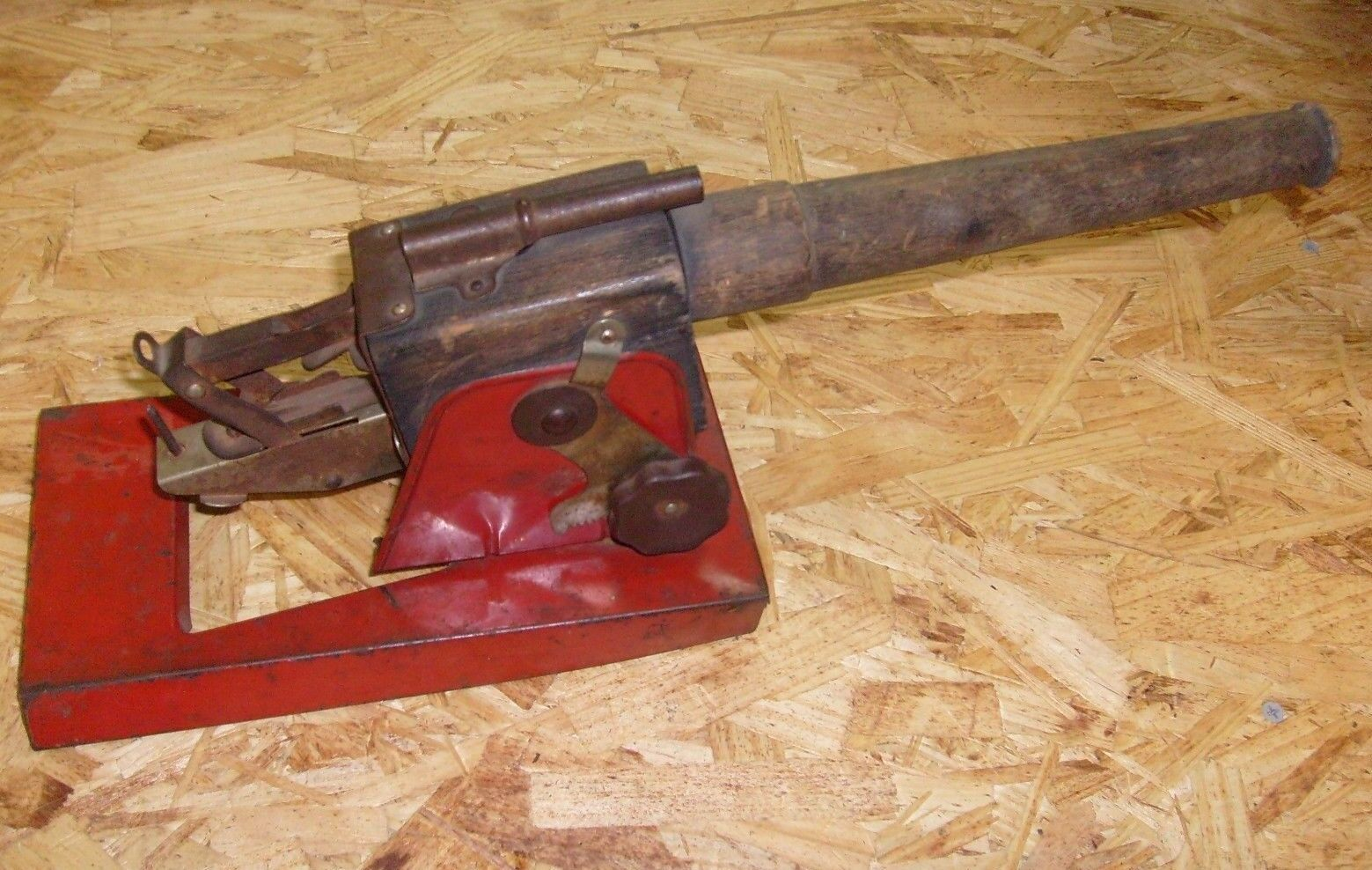ANTIQUE WOOD & TIN TOY CANNON - BIG 17 INCHES