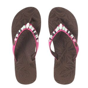 en soldes f738a 268e5 Details about Animal Ladies Sista Nubuck Flip Flops in Chocolate