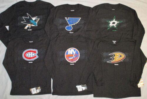 SELECT NHL TEAM REEBOK Youth S M L Boys Hockey LS Long Sleeve LOGO T-SHIRT NWT