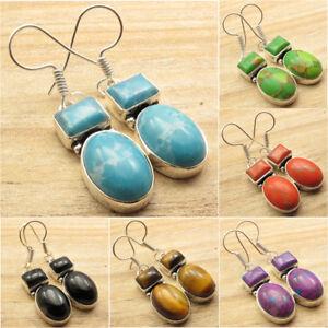 925-Silver-Plated-Gemstone-ART-GIFT-Earrings-Pretty-Handmade-Jewelry