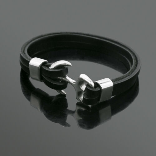 Men/'s Stainless Steel Leather Bracelet Tone anchor Charm Magnetic Clasp Bangle