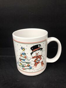 Vintage-Coffee-Mug-Snowman-Christmas-Tree-Holiday-12OZ