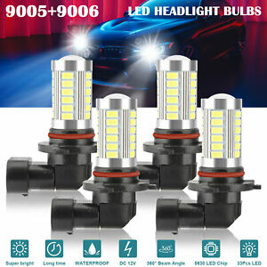 4x-9005-9006-LED-Combo-Headlight-Bulbs-High-Low-Beam-Kit-6500K-Xenon-Super-White