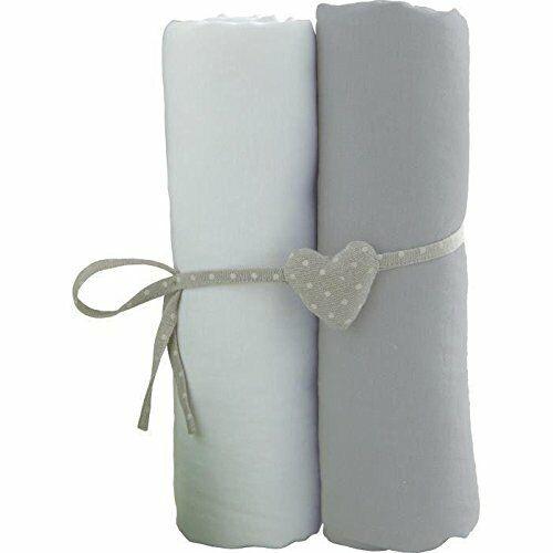 Lot de 2 Draps Housse Babycalin Blanc//Gris 60 x 120 cm Lit Bébé Doux 100/% Coton