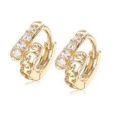 Childrens Baby Girls Safety Crystal Hoop Earrings Jewelry Gold Filled Cheap