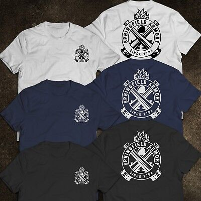 New SPRINGFIELD ARMORY Logo Since 1794 Men/'s Black T-Shirt Size S to 3XL