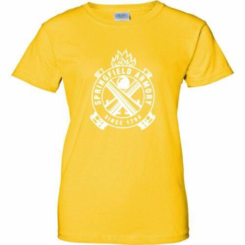 Springfield Armory White Logo Womens T Shirt Ladies 2nd Amendment Pro Gun Rifle