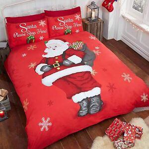 Santa-Stop-Here-Noel-Rouge-Set-Housse-de-Couette-Double-Noel-Literie