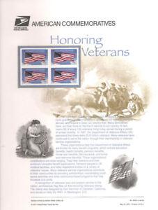 #628 34c Honoring Veterans #3508 USPS Commemorative Stamp Panel