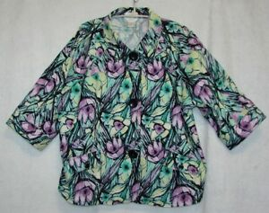CJ-Banks-Christopher-amp-Banks-Stretch-Plus-Size-2X-Floral-Jacket-Button-Front