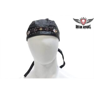 1bee5bffe30 Image is loading Vintage-Biker-Skull-Cap-with-Beads-and-Studs-