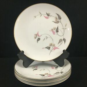 Set-of-4-VTG-Salad-Plates-by-Noritake-China-Arden-5603-Pink-Floral-Japan