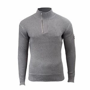 0baeab1989b153 Details about Mens Jumper Crosshatch Waffle Knitted 1/4 Zip Up Funnel Neck  Sweater
