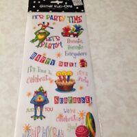 Me & My Big Ideas Glitter Rub-on's Birthday Party Glitter Party Embellishments