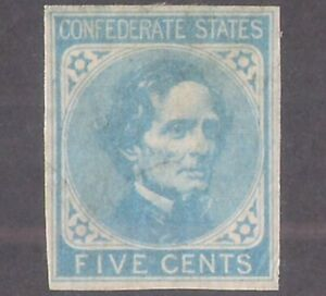 Confederate States of America #6 MINT HR NICE COLOR & MARGINS, some stray marks