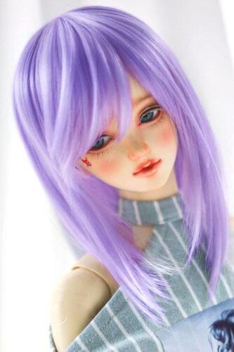 "1//4 7-8/"" 18-20cm Bjd Doll Hair Wig Mid-Long Light Lilac Purple Layered Silky R-q"