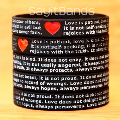 100 of I Corinthians 13 Religious Wristband Love is kind ... Love is patient